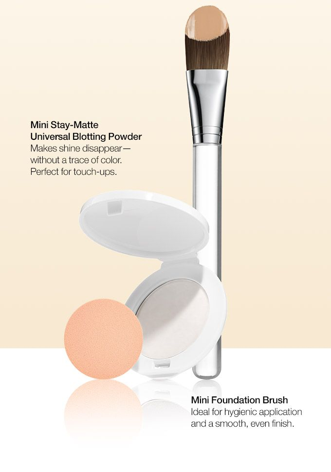 Mini Stay-Matte Universal Blotting Powder Makes shine disappear— without a trace of color. Perfect for touch-ups. Mini Foundation Brush Ideal for hygienic applicationand a smooth, even finish.