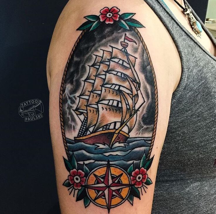 American Traditional ship in a storm. Done by Paulski at Golden Rule Tattoo in Phoenix Arizona on Camelback