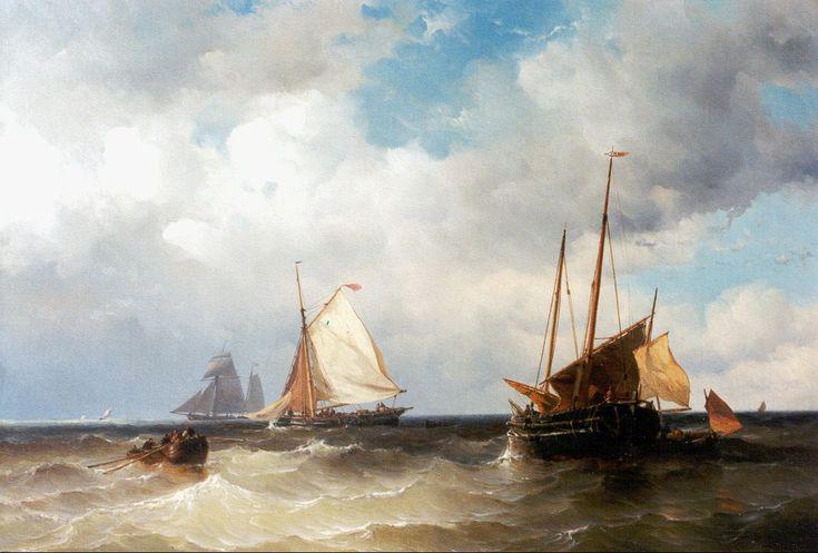 Zeilende vissersschepen en sloep op volle zee, olieverf op doek 60,0 x 88,0 cm, gesigneerd r.o. en gedateerd 1857