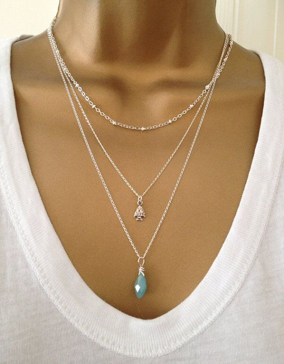 3 Silver Layering Necklaces Bead Arrow Gem by PABJewellery on Etsy