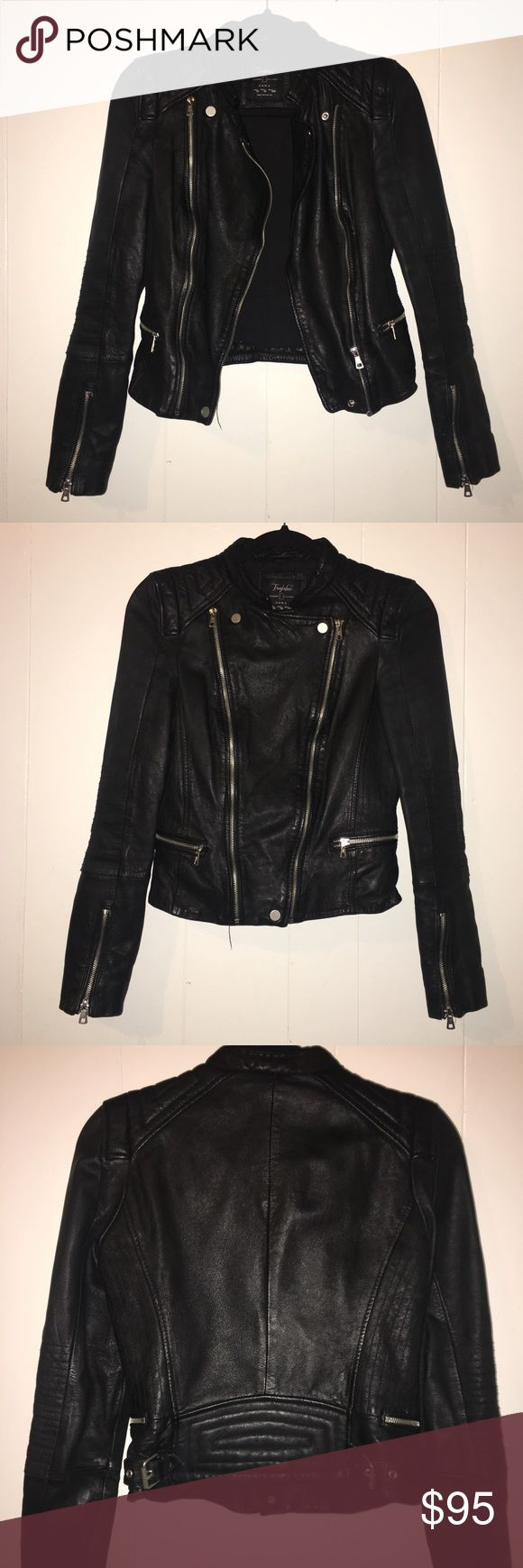 Zara Lambskin Leather Jacket Black Really cute lambskin leather jacket. All pictures taken with flash except for the last picture. No trade. Price firm. Zara Jackets & Coats