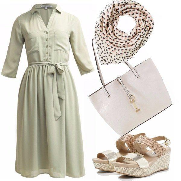 Il delizioso vestito ricorda Grace Kelly con le sue mise semplici e di classe. Lo rendiamo moderno con le zeppe intrecciate e dorate, abbinando una shopping bag color crema a dar movimento un foulard! Siete pronte principesse?