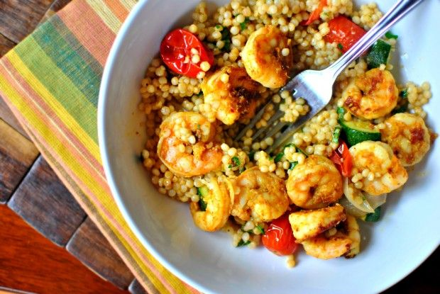 North African Shrimp + Roasted Summer Vegetable Couscous