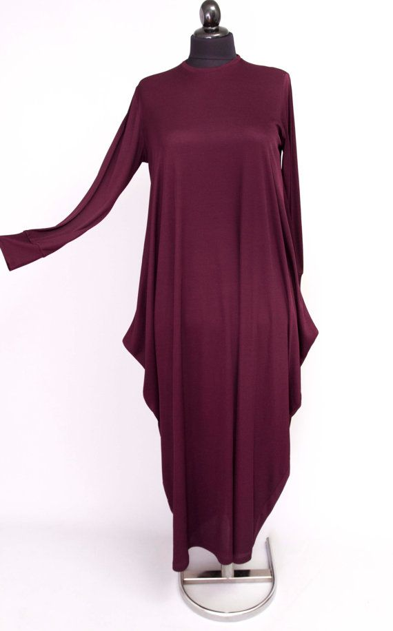 Abaya casual dress  evening dress casual maxi long sleeve loose  , deep EGGPLANT