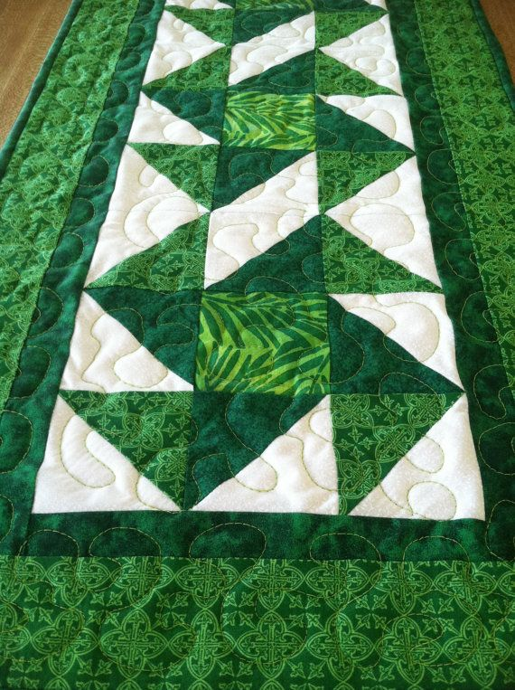 St Patrick's Day Table Runner 14.25 x 37.5 by Covequilter on Etsy