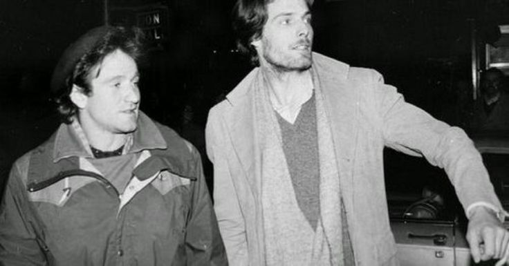 Robin Williams and Christopher Reeve RIPs attempt to hail a taxicab in NYC ca. 1981.