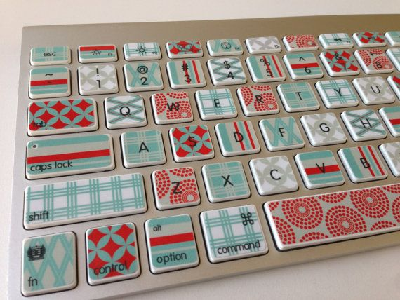 Cute Red and Mint Designer Washi Tape-Inspired iMac, MacBook Pro, and MacBook Air Keyboard Protective Skin on Etsy, $20.00