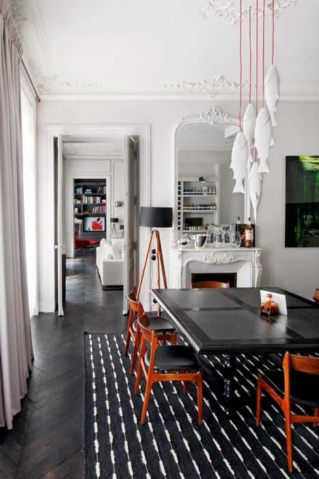 VINTAGE & CHIC: decoración vintage para tu casa · vintage home decor: Un apartamento perfecto en París (de suelos negros) · A perfect apartment in Paris (with black flooring)