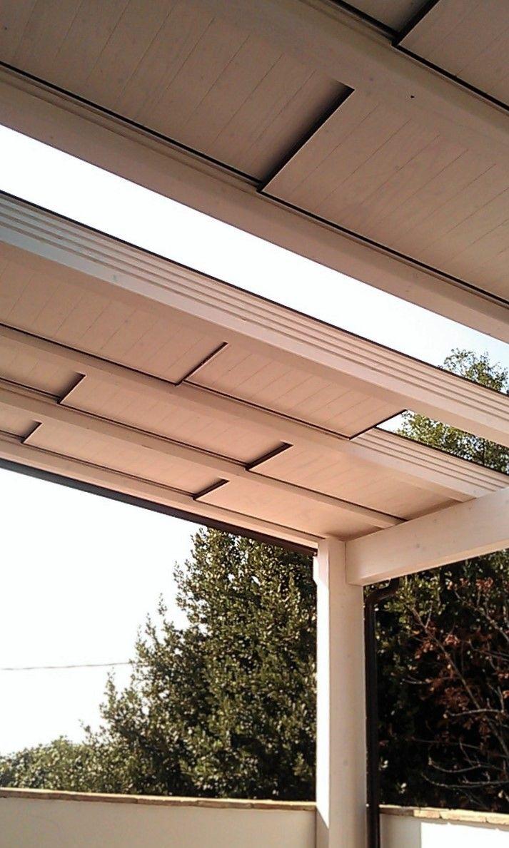 Porticato con copertura apribile scorrevole. Installazione in edificio residenziale. http://www.silviadonati.it