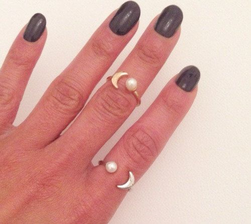 Adjustable Eclipse Ring, Moon Ring, Crescent Moon Ring, Adjustable Ring, Knuckle Ring, Metal Ring, Multi Finger Ring