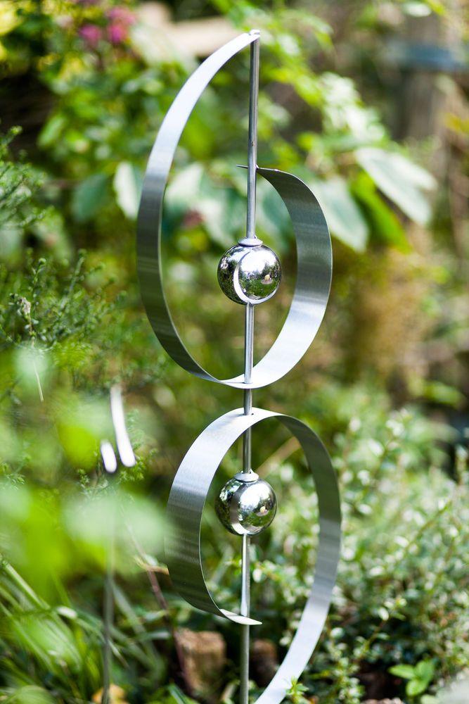Edelstahl gartenskulptur harmonie gartenstecker totem for Gartenstecker metall rostoptik edelstahl