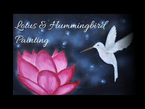 Acrylic Fantasy Painting - Hummingbird and Lotus - Speed Painting
