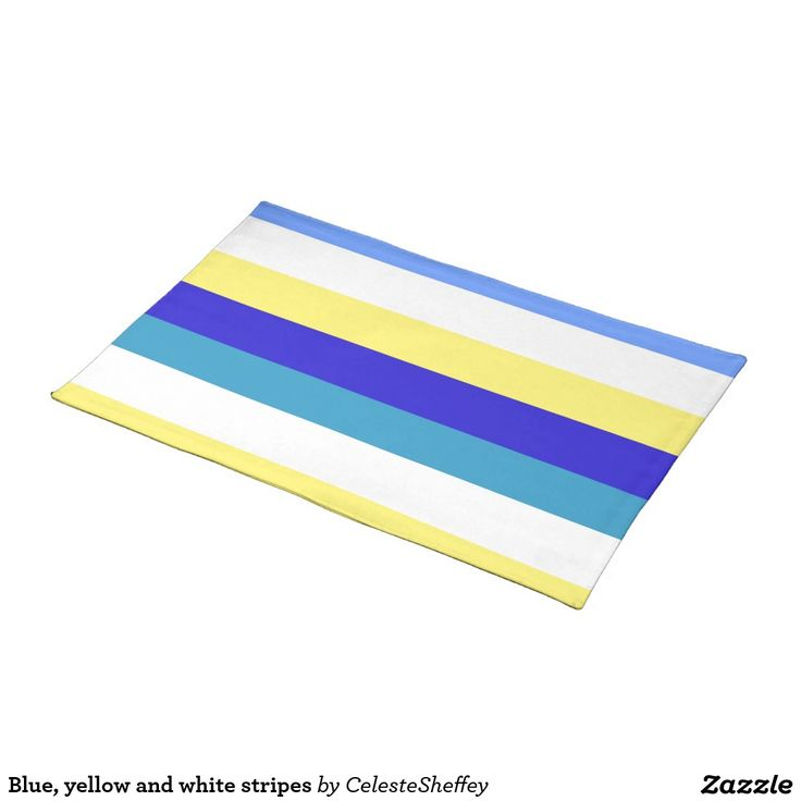 Blue, yellow and white stripes cloth place mat