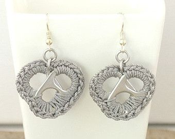 Grey pop tab heart earrings - pair, crochet heart, upcycle, recycle, eco - gray, pop tab, pull tab, ring tab, ring pull