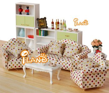 Model doll house diy furniture mini sofa fancy 1 4  wooden dolls house furniture