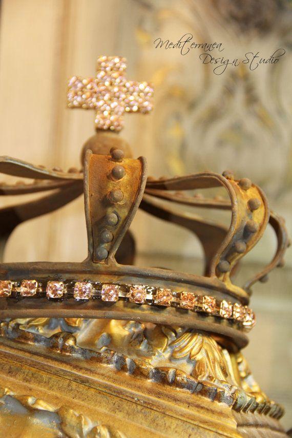 Embellished Metal crown rust crown crown by Mediterranea Design Studio