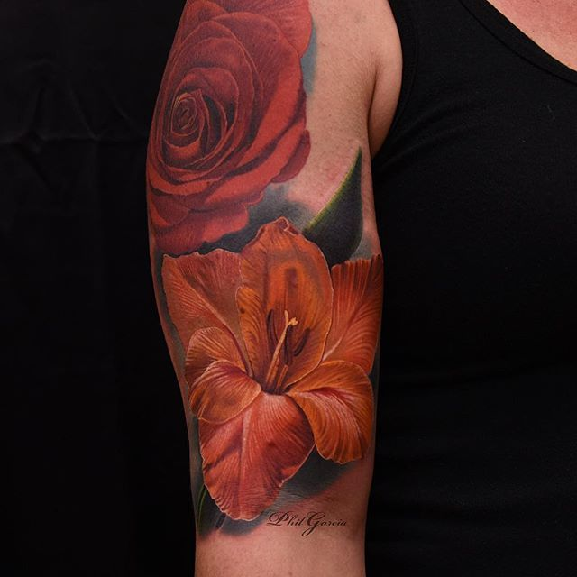 added an orange gladiolus to this red rose i did back in june looking forward to adding more. Black Bedroom Furniture Sets. Home Design Ideas