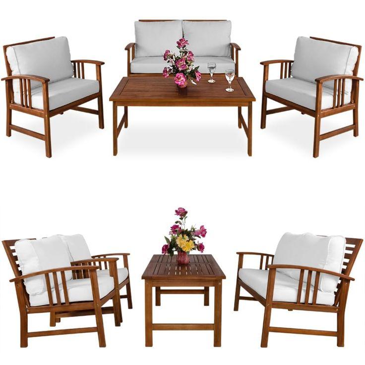 Die Loungesuite ATLAS aus Akazienholz besteht aus einem Tisch, zwei Stühlen und einem …   – Garten