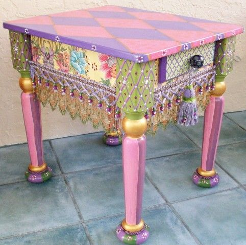 whimsically painted furniture - (not my style but I still love it; would be fun to try to make)