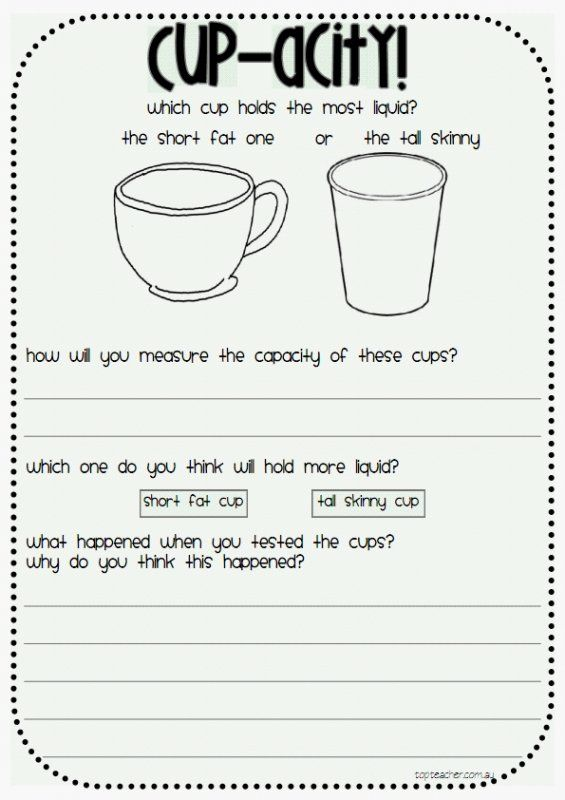 This activity is a perfect task to use in assessing your students knowledge and understanding of capacity.To complete the task the students must work out which cup holds the most liquid. They will nee