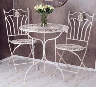 stolik na trójnogu i dwa krzesła zestaw ogrodowy