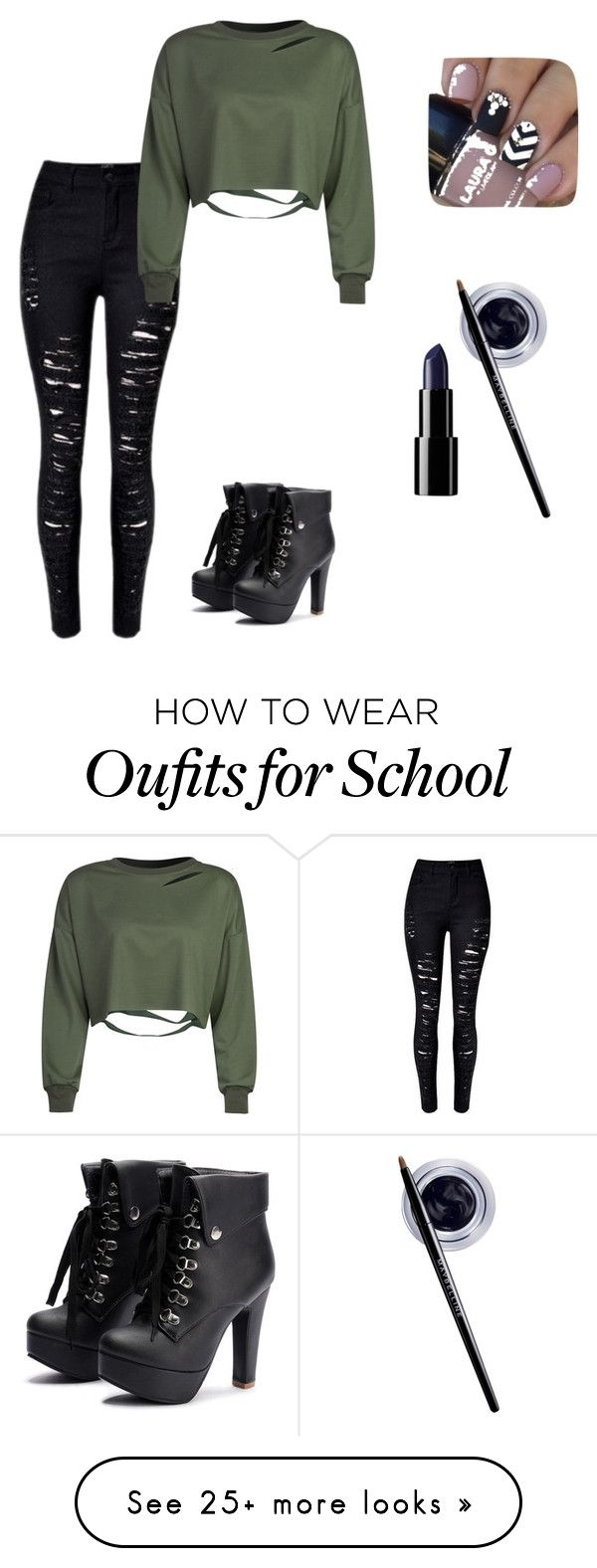 """school wear"" by emoflowerchild on Polyvore featuring WithChic and Maybelline"