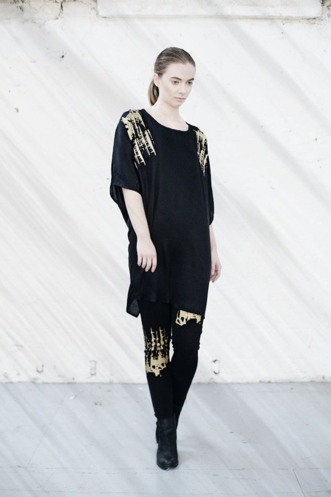 We are Islanders Black Print Twist Sleeve Dress with Gold Hand-Print, and Black Jersey Leggings with Gold Hand-Print
