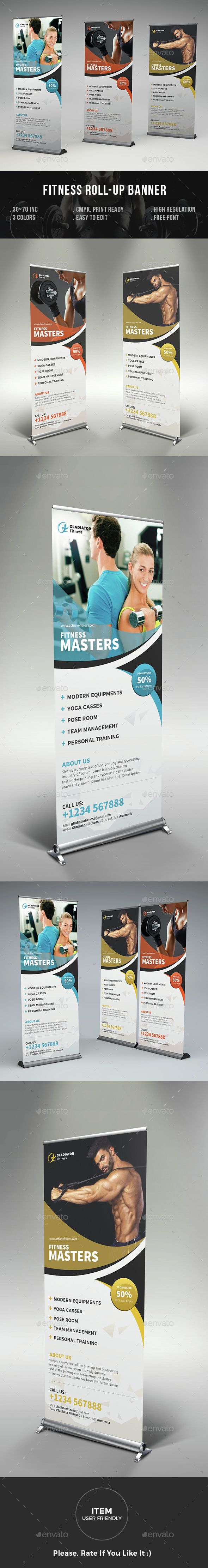Fitness Roll-up Banner Template PSD. Download here: http://graphicriver.net/item/fitness-rollup-banner/14880965?ref=ksioks