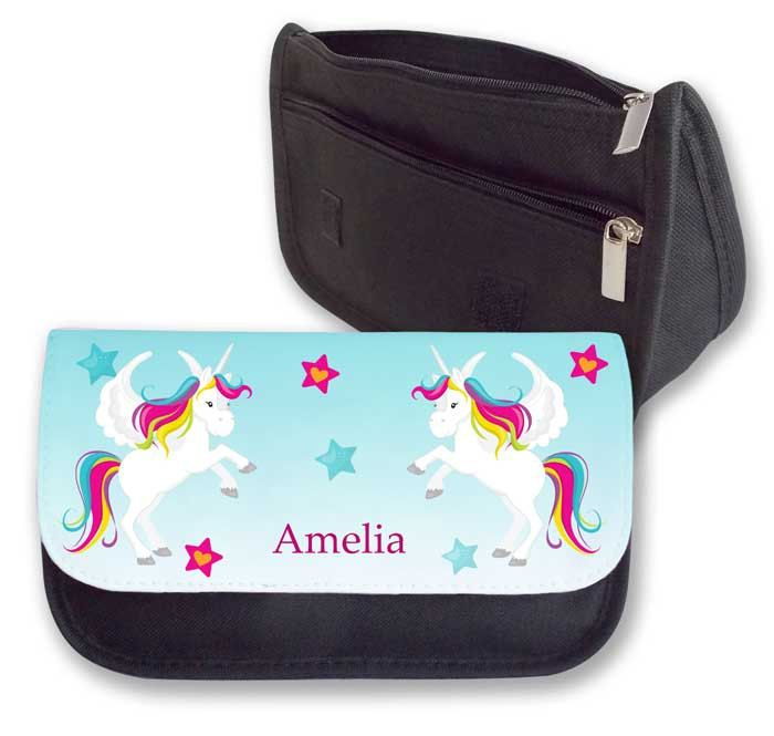Personalised Unicorn pencilcase, childs pencil case, stationary case, stocking filler, party favour by cjcprint on Etsy