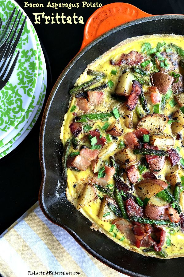 This Bacon Asparagus Potato Frittata is a delicous springtime breakfast, brunch, or dinner dish to serve!