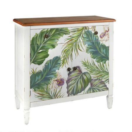 Our garden-themed storage cabinet brings a tropical touch to your decor with a screen print design of lush leaves. Double doors and a top drawer open up plenty of organization options, while its spacious top is perfect for displaying frames, lamps, books and more.