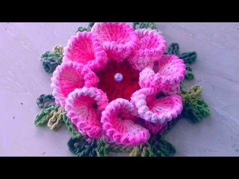 Artesanato crochê   Aprenda a fazer uma flor em crochê - YouTube