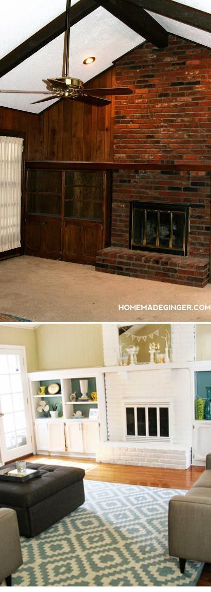 Paint makeovers-3 Megan from 'Homemade Ginger' shares this drastic living room makeover with us. They painted not just walls, but wood paneling, brick and trim. Remember, you can paint almost anything with the right prep and tools.