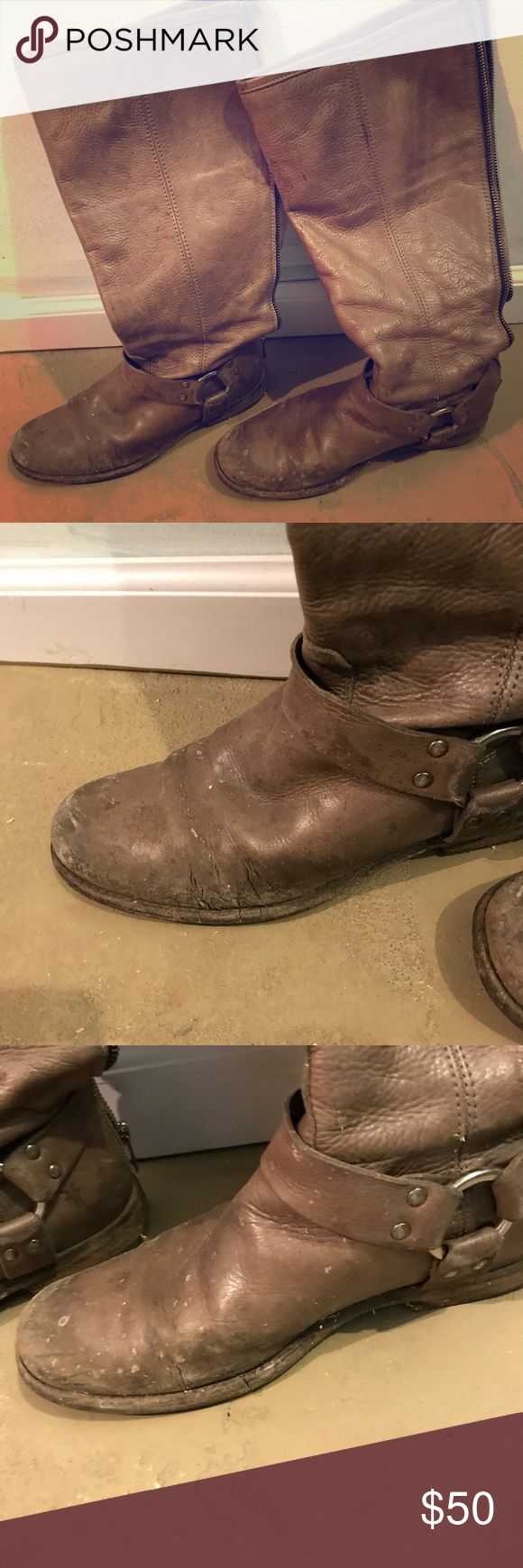 Worn frye boots. Phillip harness tall frye boots. Make sure to look at all the pictures before purchasing Frye Shoes Heeled Boots
