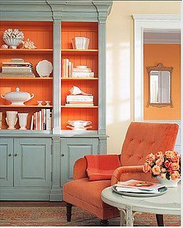 Painted Bookshelf Idea - love the idea of a different color on the inside of a bookshelf