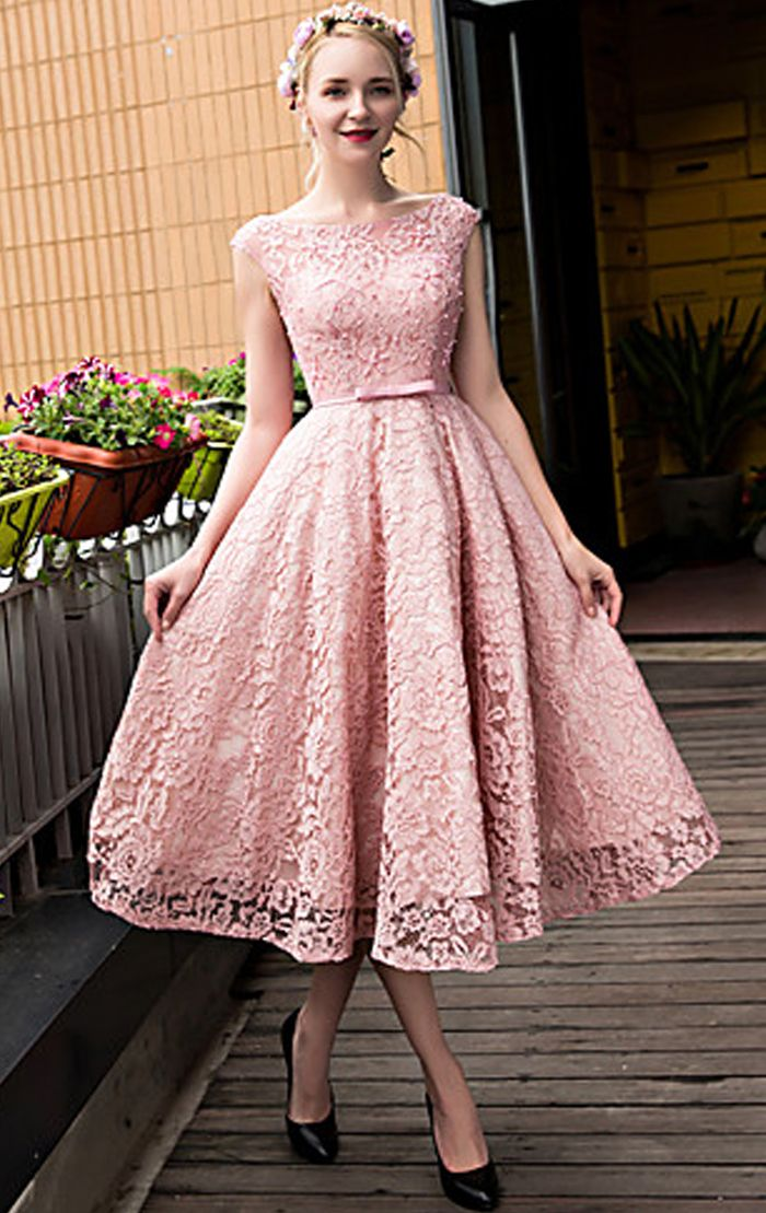 Elegant Cap Sleeves Lace Cocktail Dress Pink Midi Wedding Party Formal Gown  Tea Length Prom Dress Lace Prom Gown  dress  gown  wedding  prom  prom2018  ... 20ab74fea11d