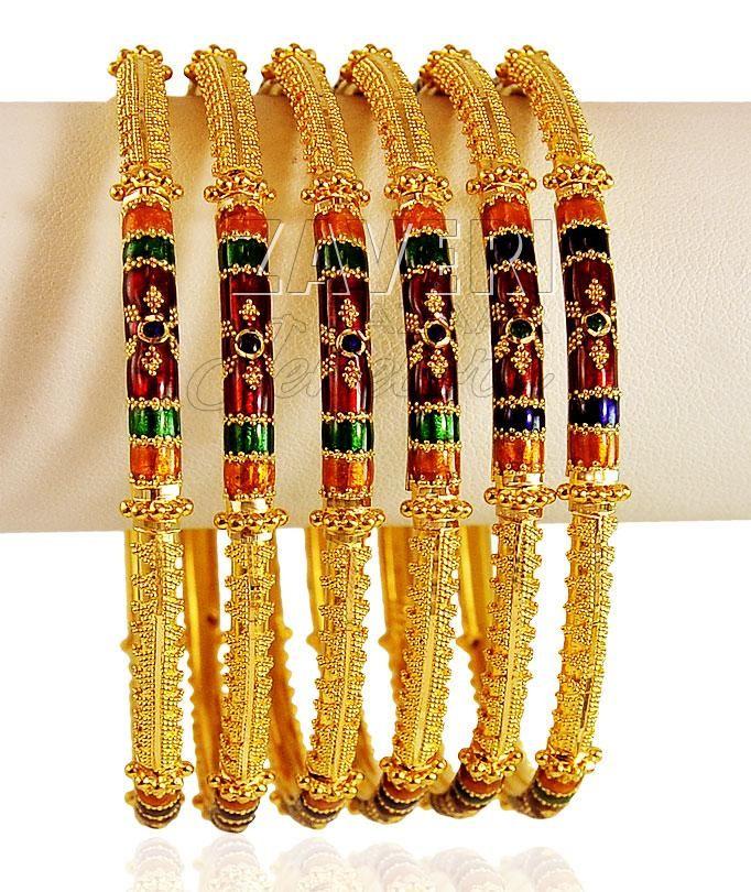 22Kt Meenakari gold Bangles Set