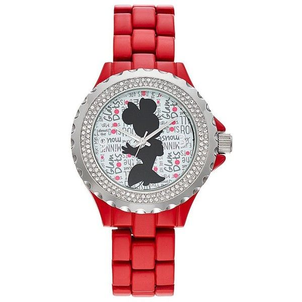 """Disney's Minnie Mouse """"Glam Dots"""" Women's Crystal Watch ($60) ❤ liked on Polyvore featuring jewelry, watches, red, water resistant watches, crystal bezel watches, bezel watches, dot jewelry and red jewelry"""