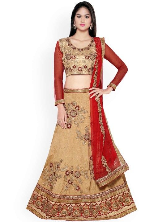 178b0d7d7 Aasvaa Beige   Red Embroidered Silk Semi-Stitched Lehenga Choli with  Dupatta -