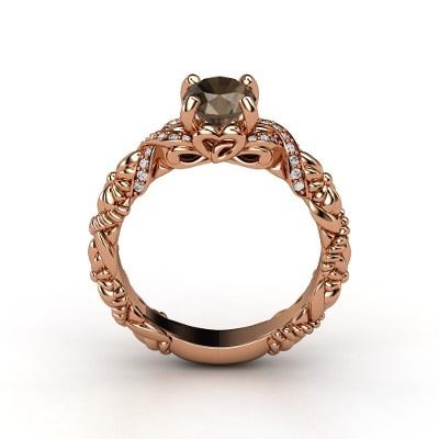 Rose Gold / Smoky Quartz Diamond Ring