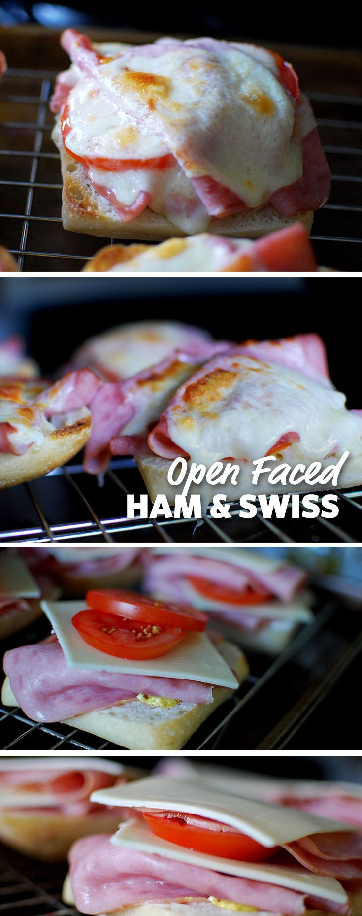 Open Faced Ham & Swiss: A sandwich doesn't have to be piled high with the topping to be tasty. A hot, cheesy melted sandwich with tomatoes is a quick and easy lunch! #FoodLion