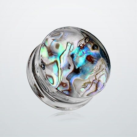 Abalone Inlay Double Flared Ear Gauge Plug. Too bad these are prolly super expensive