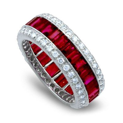 Ruby Diamond Ring set in Platinum