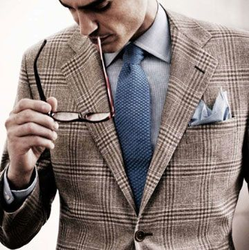Textured Blue Tie with a Brown Window Pane Suit.