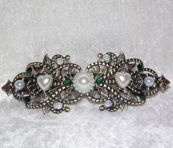 Hair Clip Large  Faux Pearl Heart & Flowers  Free by KasumiCrafts