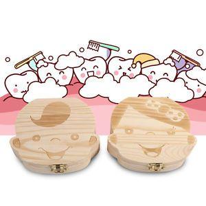 a leche dientes de madera caja funda de almacenamiento organizador ninos 3 6 anos