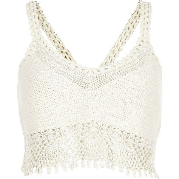 River Island White crochet bralet top ($70) ❤ liked on Polyvore featuring tops, crop tops, shirts, bralets, tank tops, stitch shirt, white bralette tops, crop top, v-neck shirts and tall tops
