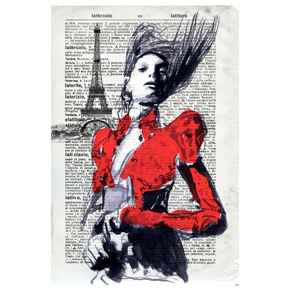 paris red, wind and urban solitude - Fashion Illustration Portrait Print Drawing Fine Art Hand Signed ink original watercolor mixed media
