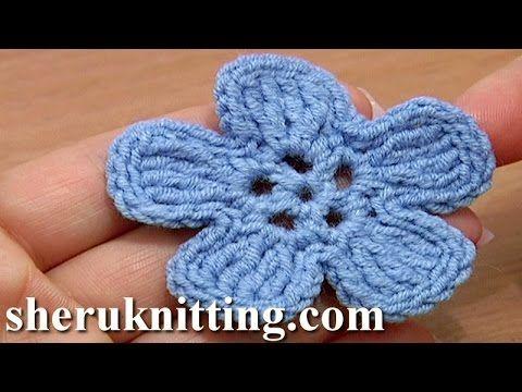 Crochet 5-Petal Flat Flower of Complex Stitches Tutorial 49 Part 1 of 2 Häkelblume - YouTube