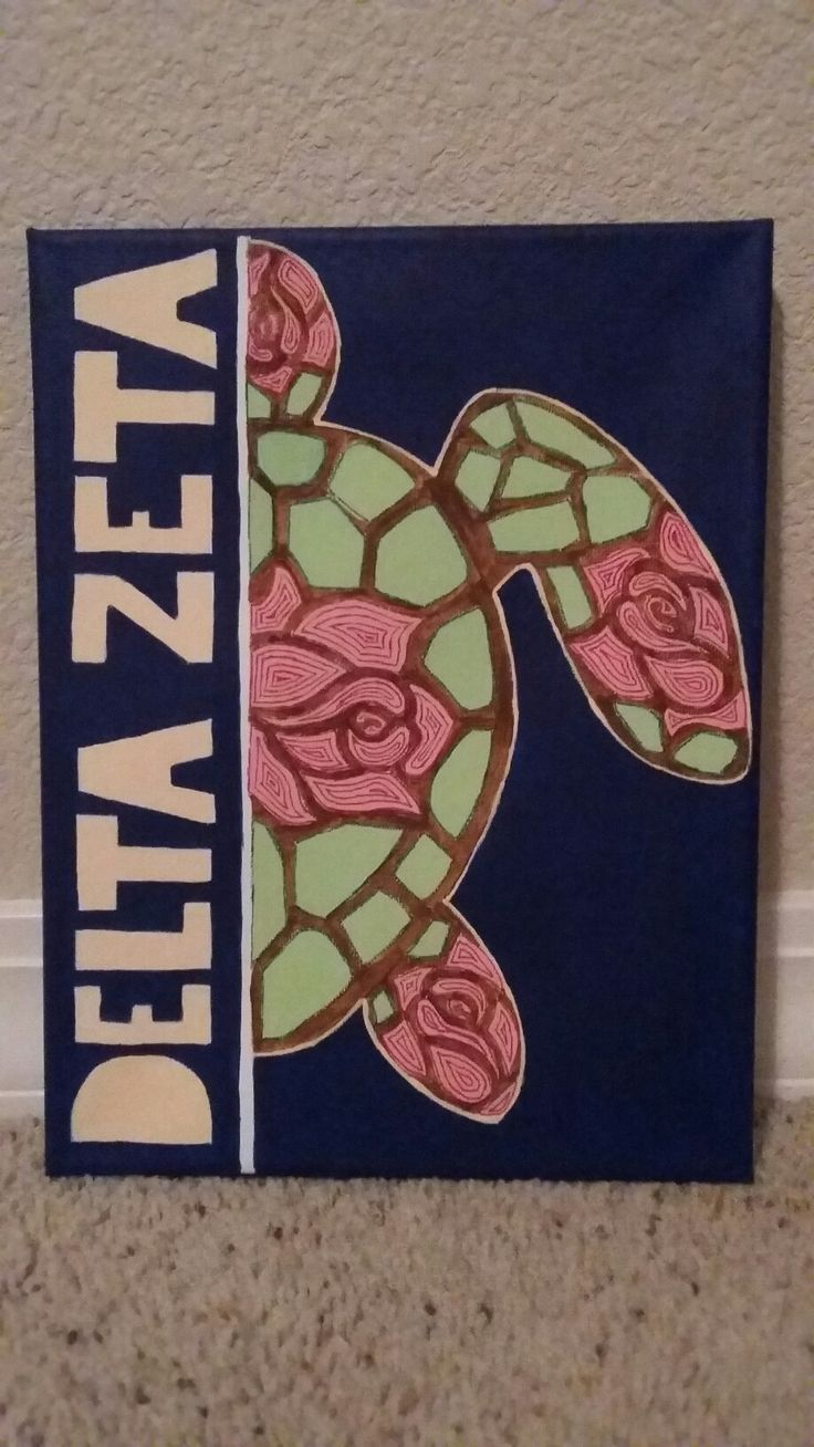 Delta Zeta turtle canvas